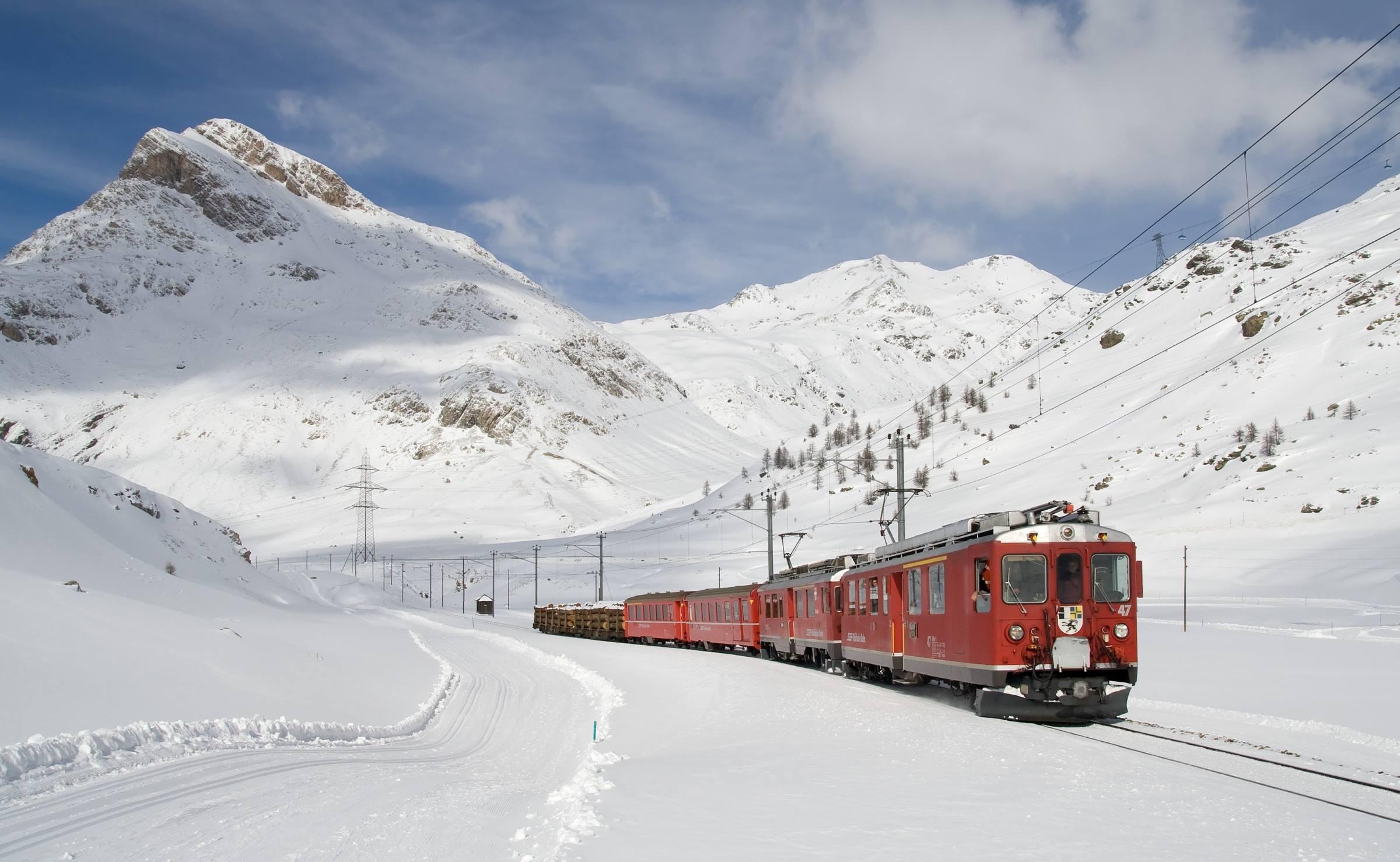 winter train snow mountains
