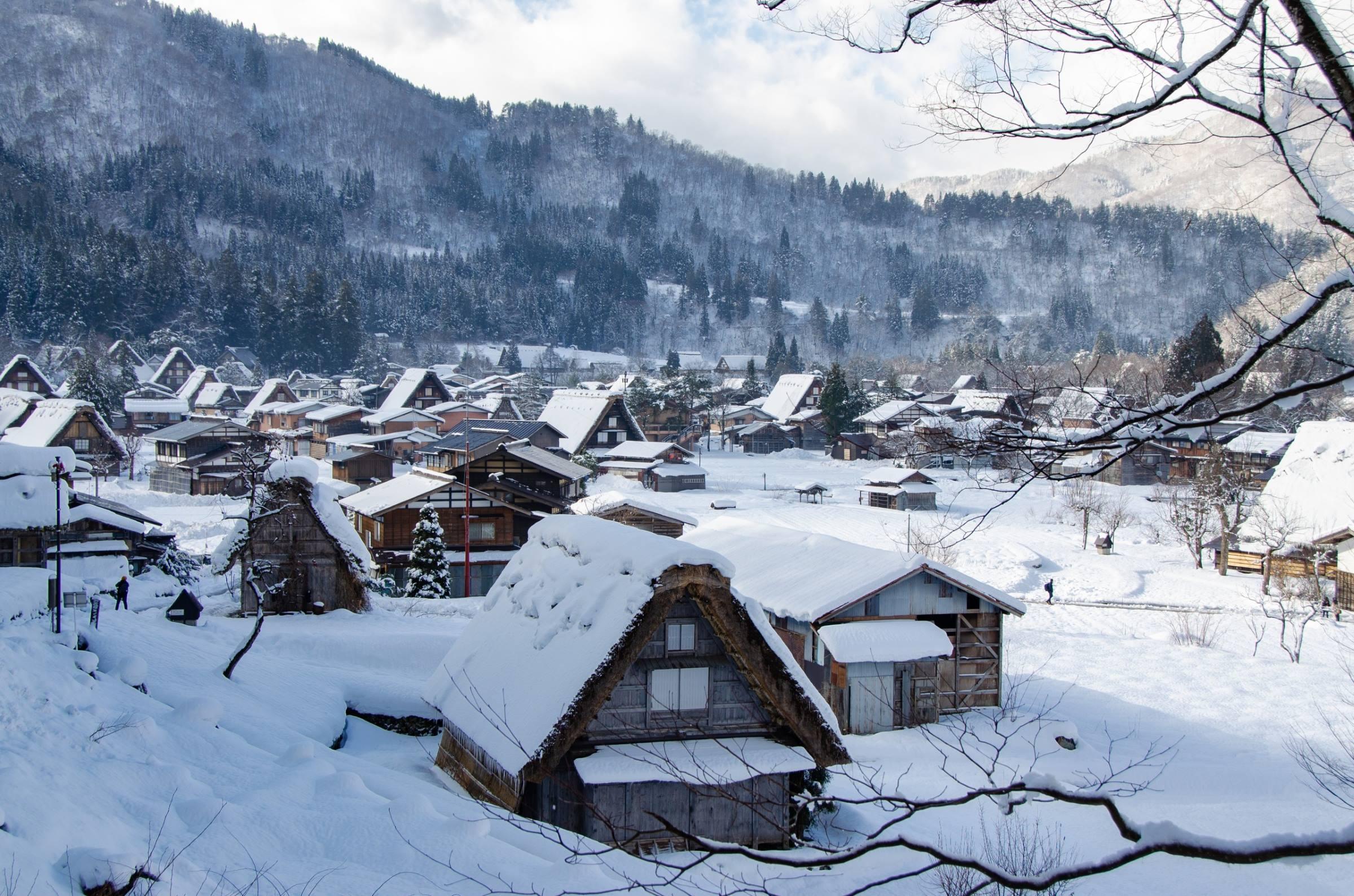 winter village snow shirakawa go japan