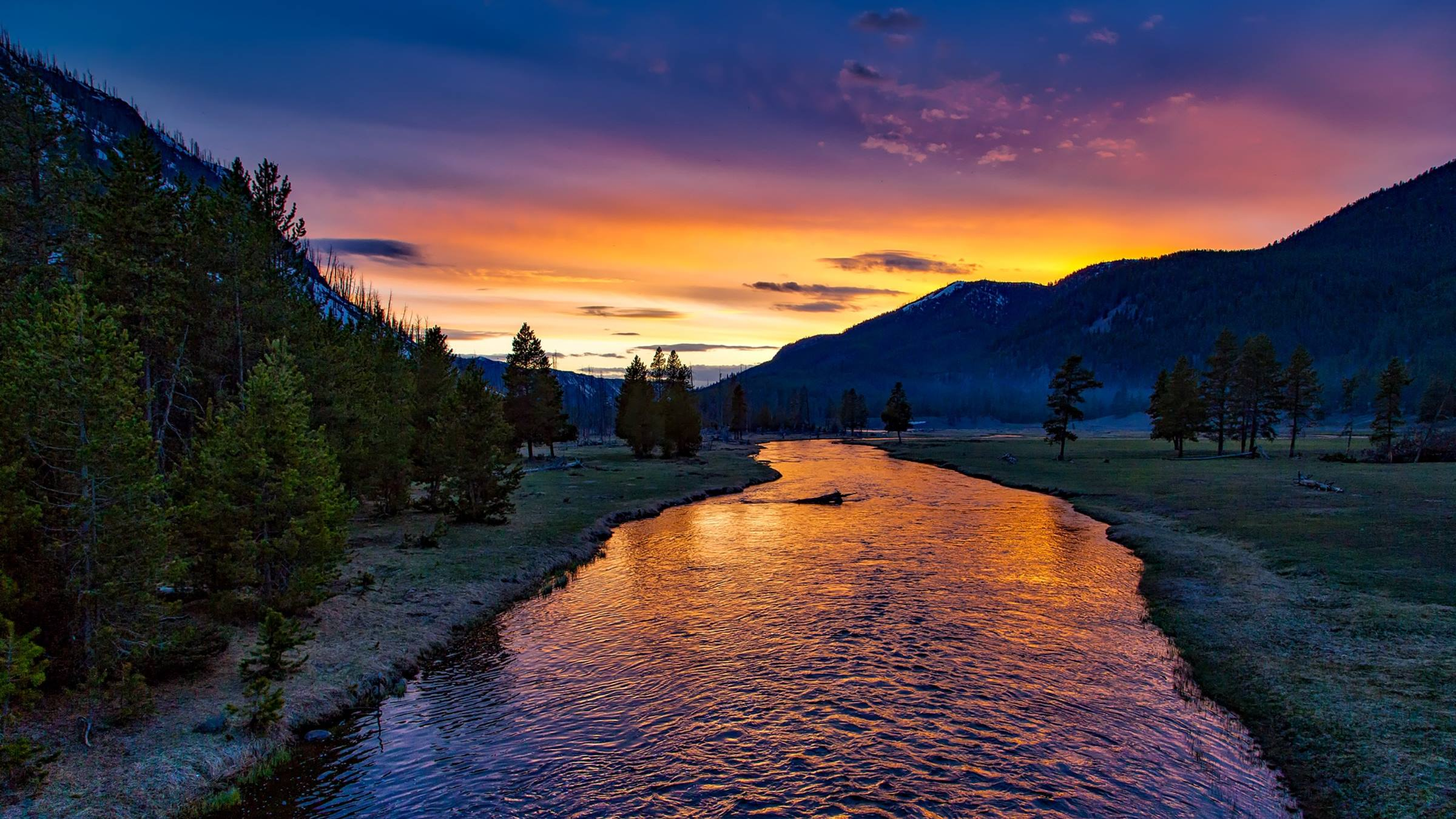 yellowstone national park river sunset trees mountains