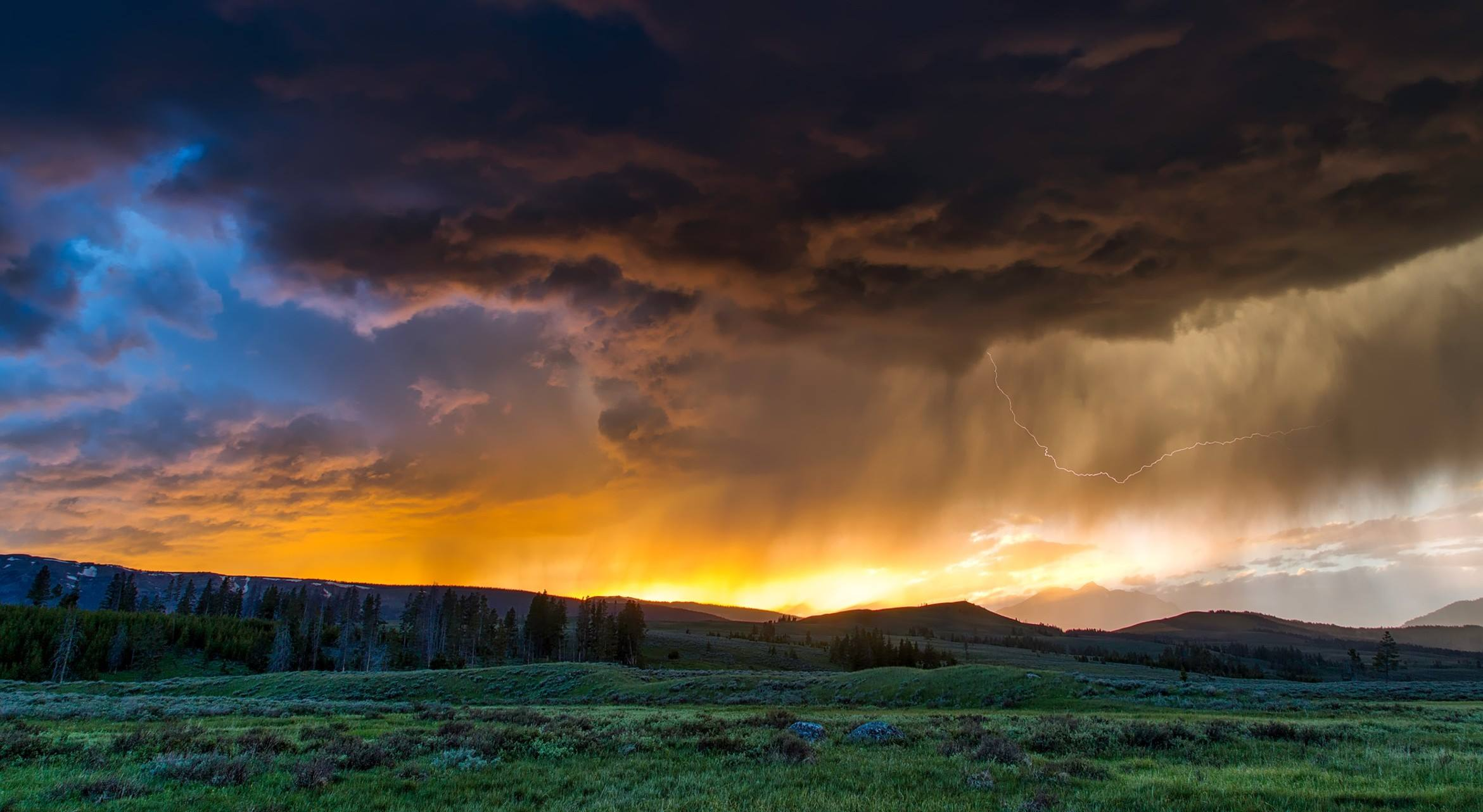 yellowstone national park storm landscape mountains