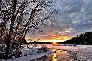 winter sunset landscape river trees