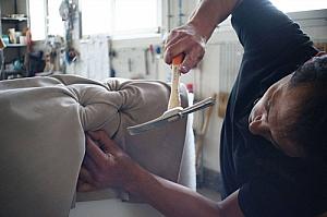 Worker upholsterer hammer