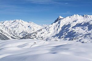 winter landscape snow mountains alps walkers