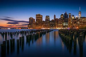new york skyline water cityscape