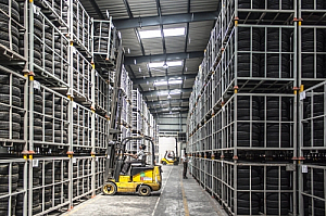 Worker fork lift truck racking