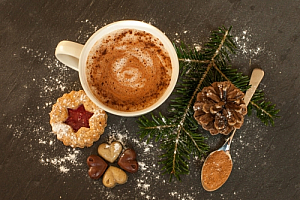 Hot drink and Christmas decorations