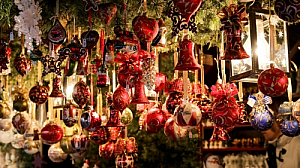 Christmas decorations in German market