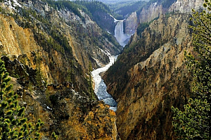 yellowstone national park river waterfall landscape