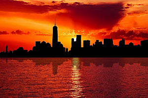 new york city sunset skyline river