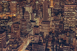 new york cityscape night offices lights