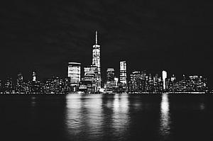 new york night black and white cityscape