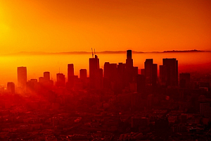 los angeles california sunrise cityscape