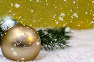 Christmas bauble and snow