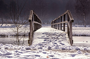 winter snow river bridge ice