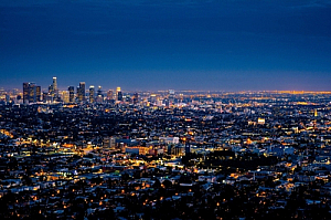 los angeles night cityscape skyline