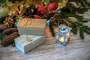 Christmas presents and lantern