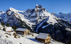 winter cabins mountains alps trees