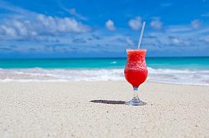 Drink on a sandy beach