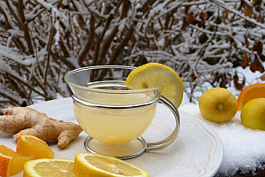 winter lemon tea tray ginger oranges snow