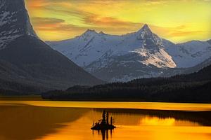 A lake in Alaska at sunset