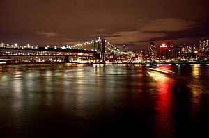 new york river night lights bridge