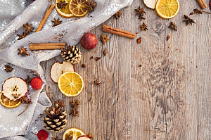 Christmas fruit on a wooden surface