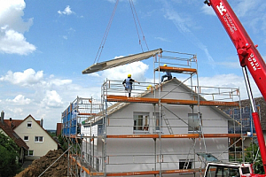 Housebuilders and a crane