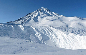 winter snow koryaksky volcano mountain blue sky