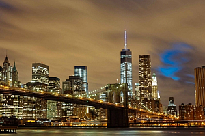 new york city brooklyn bridge lights cityscape