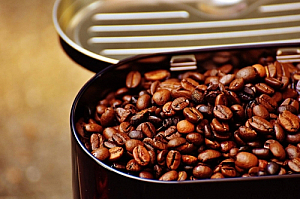 Tin of coffee beans