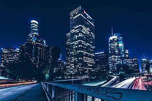 los angeles california night downtown cityscape
