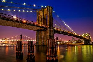 new york city brooklyn bridge night lights