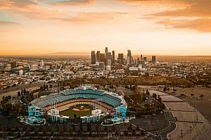 los angeles california dodger stadium skyline