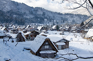 winter village snow shirakawa go japan