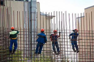 Workers rebar construction