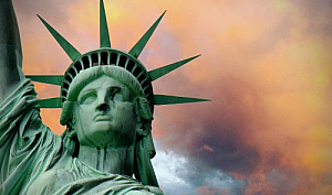 statue of liberty storm clouds new york